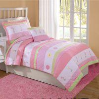 Pink & White Tara Stripe Flower Girls Bedding Twin Quilt