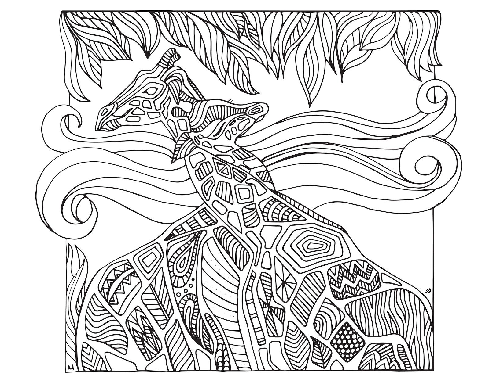 grown up colouring sheets giraffes - Free Coloring Books By Mail