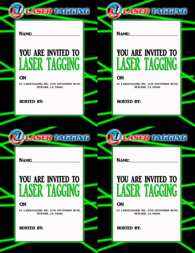 Printable Laser Quest Birthday Party Invitations | Dulahotw.co