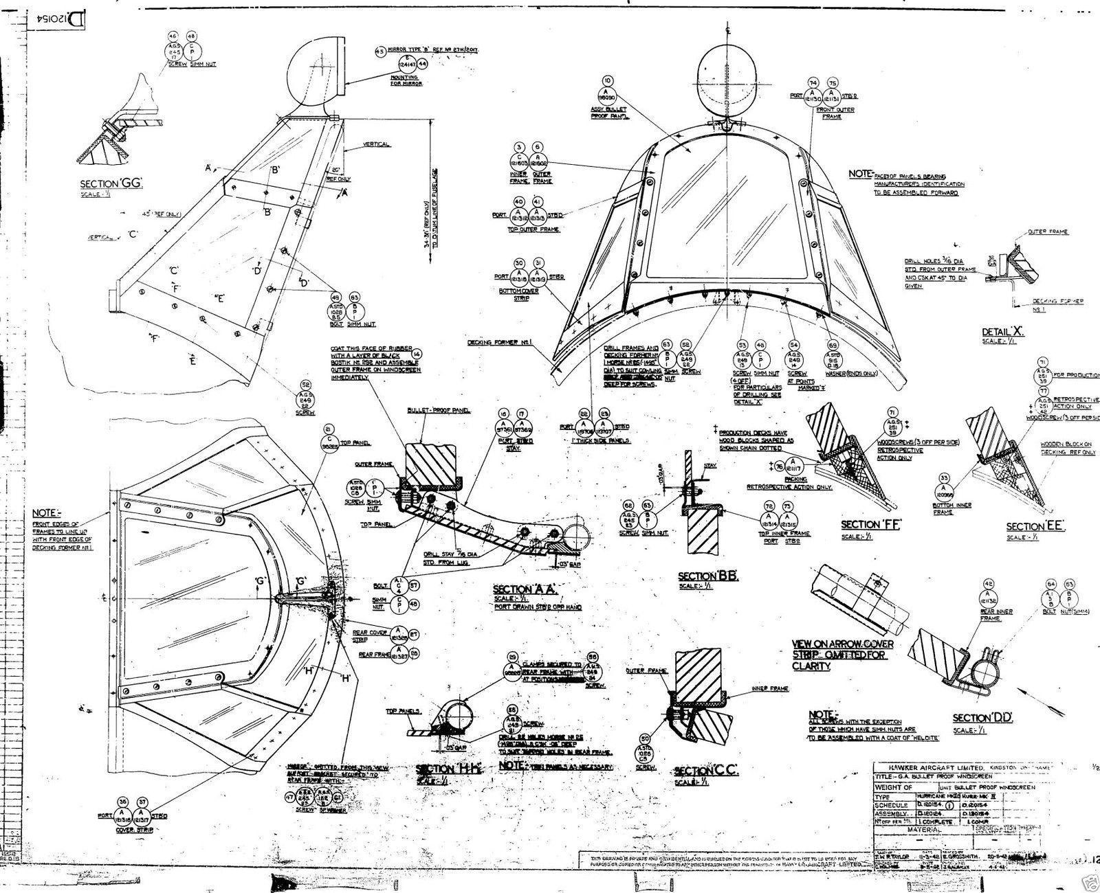 Blueprint Hawker Hurricane Original Planes Rara Periodo De