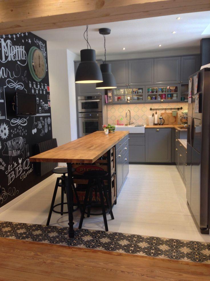Nouvelle Cuisine Ikea Bodbyn Gris Metod Tendance Scandinave Carreaux De Ciment Bois
