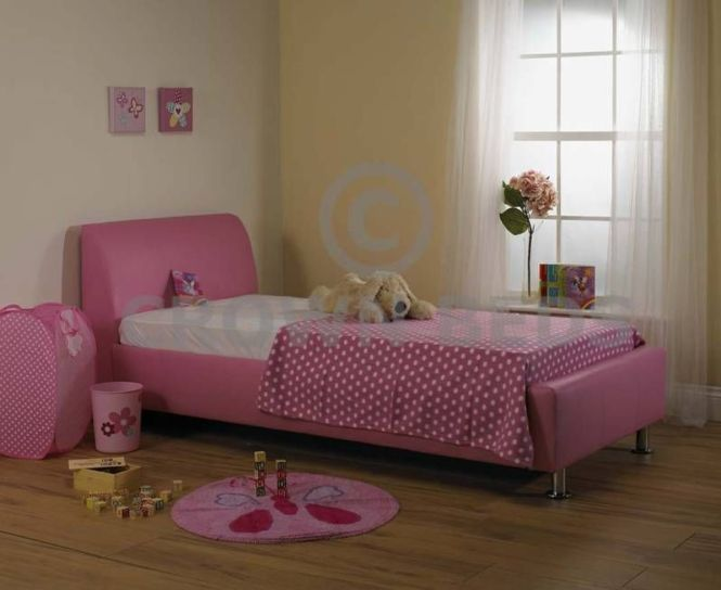 4ft Pink Faux Leather Small Double Bed Ortho Mattress
