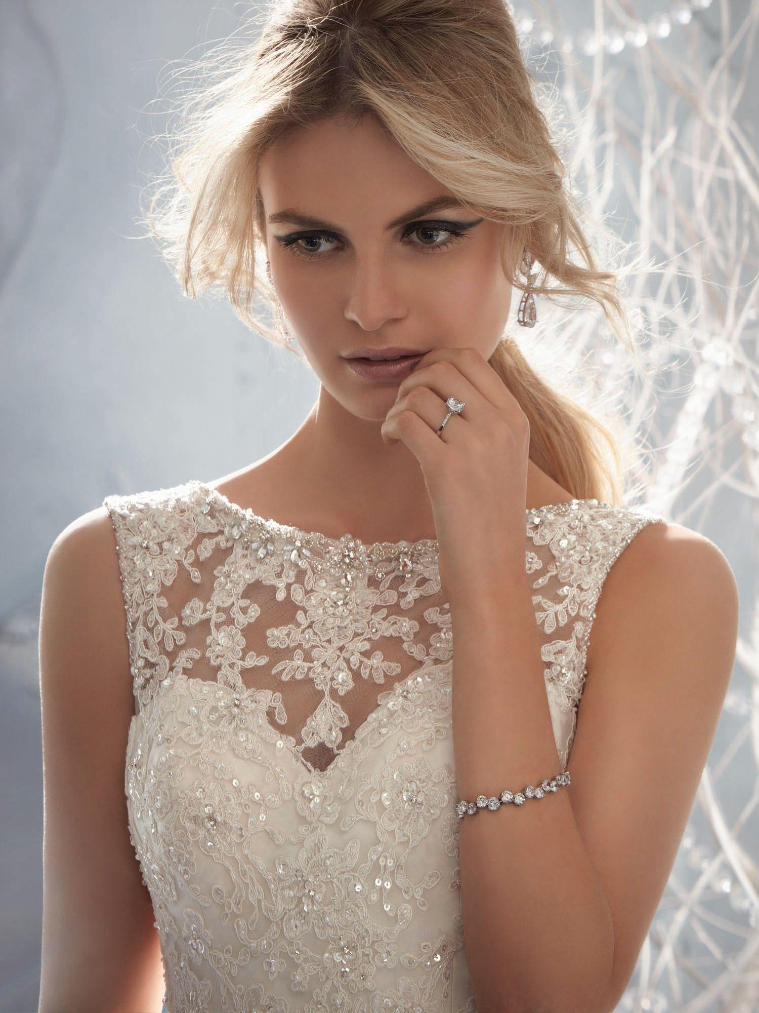 Mori Lee Wedding Dress  beaded lace overlay of sweetheart