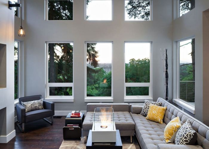 Views sofa fireplace modern home in eugene oregon by jordan iverson signature family roomsmodern living also