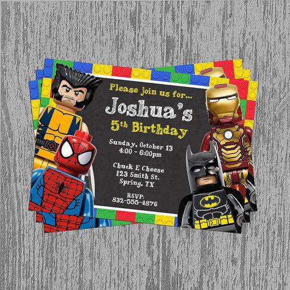 Lego Superheroes Chalkboard Birthday Invitation Digital