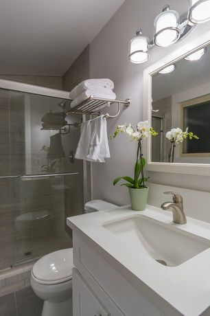 Contemporary 34 Bathroom with Flush Flat panel cabinets