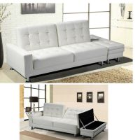 Details about White Faux Leather Sofa Bed Modern Living ...