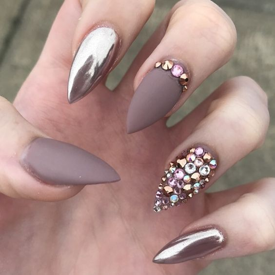 Metallic nail designs will be quite popular this year, so