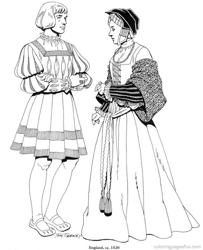 Renaissance Costumes and Clothing Coloring Pages 25