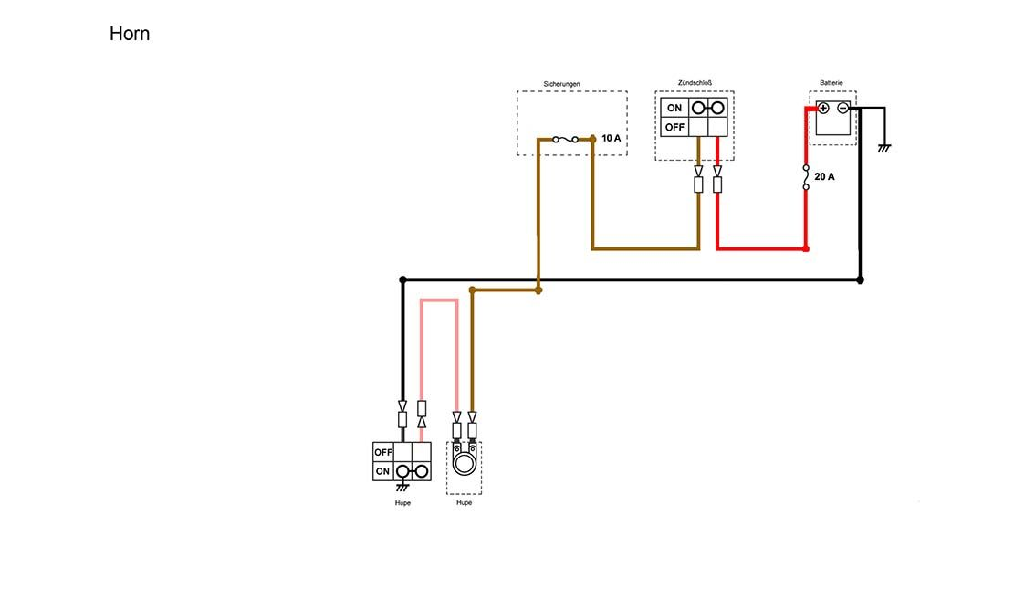 horn section of the simplified wiring diagram for xs400