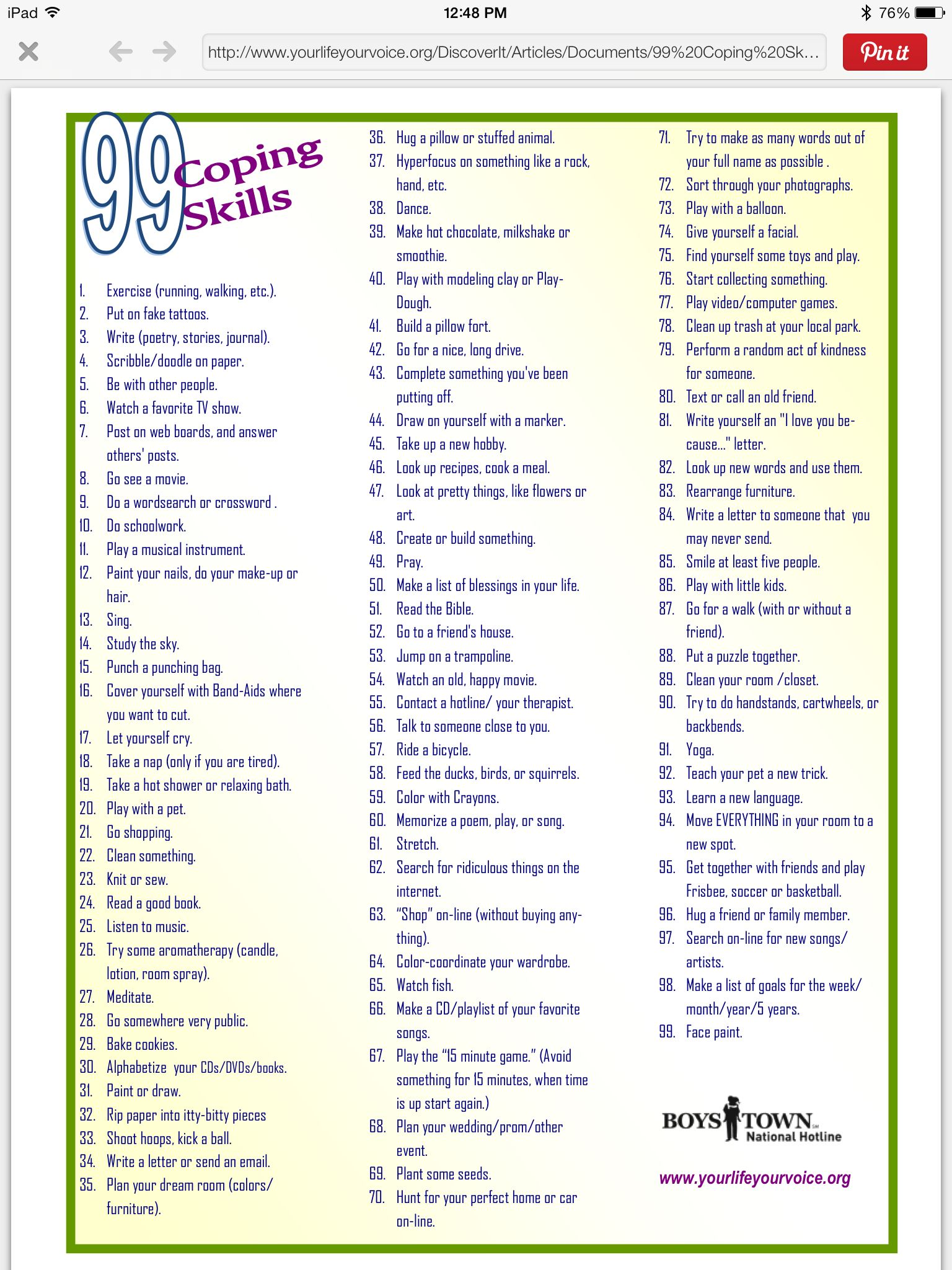 Boys Town List Of 99 Distractions Ways To Cope With