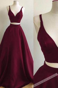 Burgundy satins two pieces v-neck long prom dresses,summer ...