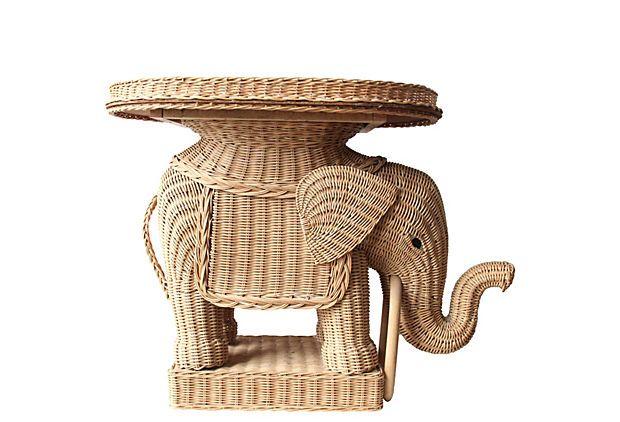 Wicker Elephant Side Table W/ Tray On OneKingsLane.com