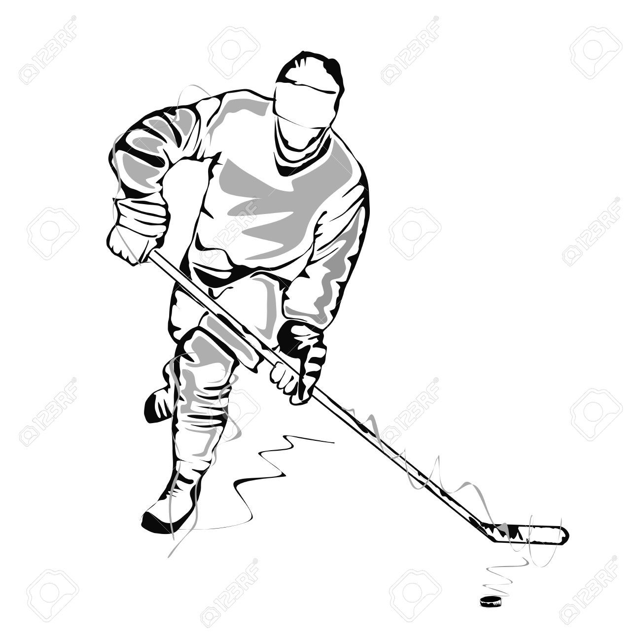 Hockey Player Sketch Royalty Free Cliparts Vectors And