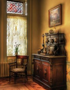 Mike savad favorite things lace curtains stained glass tarnished silver old buffets mustard toned walls also pin by paloma arellano aparicio on confortable pasado rh pinterest