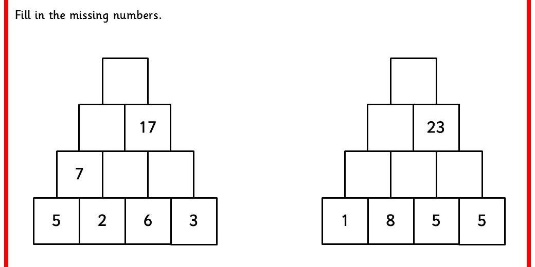 Six differentiated maths pyramid worksheets. From simple