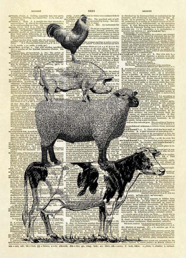 Stacked Farm Animals Dictionary Art Print Brothers Grimm