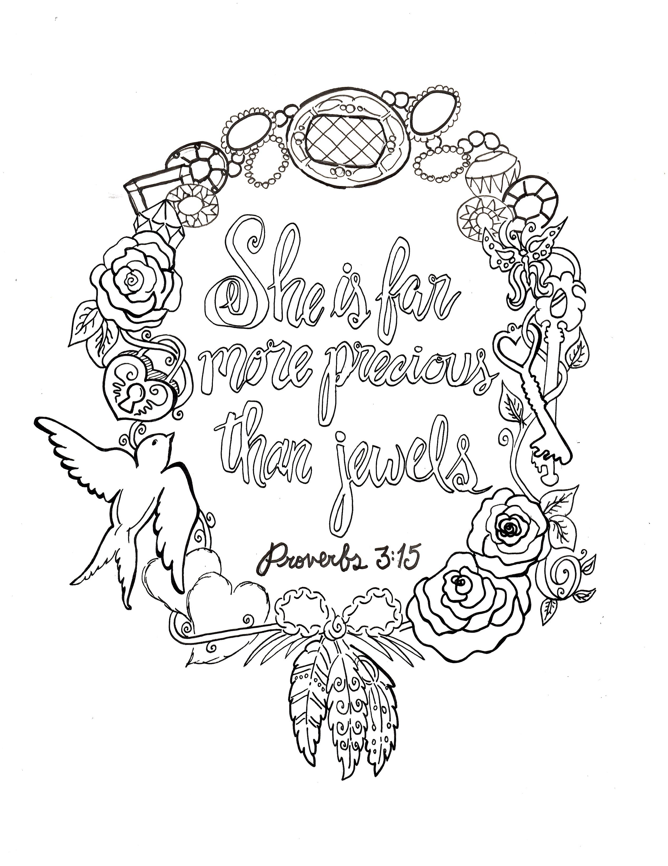 Proverbs 3 15 Printable Free 8x10 Coloring Devotions To