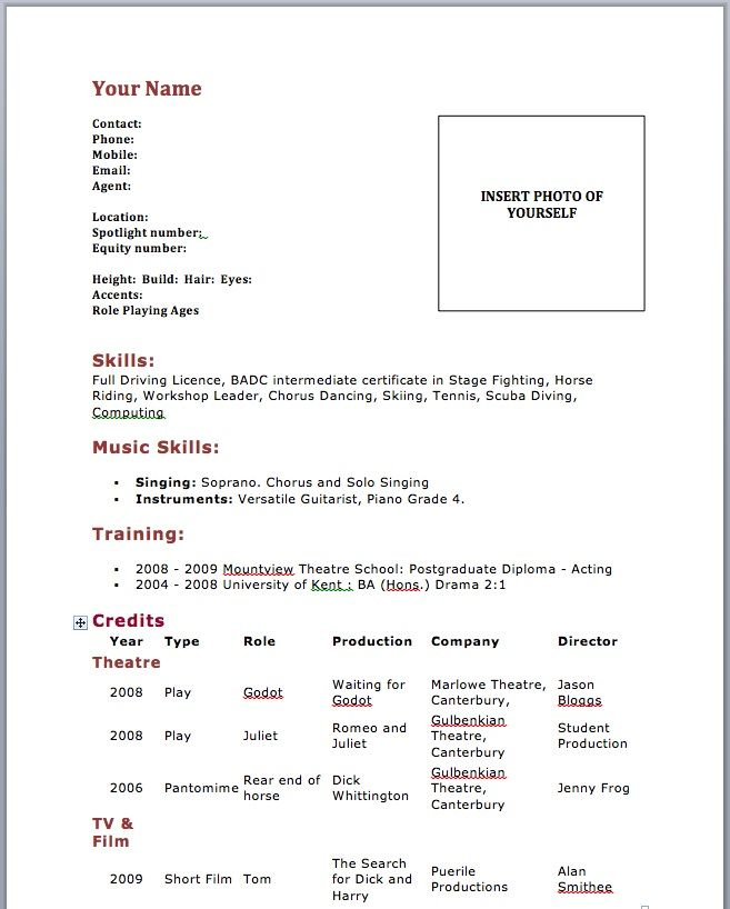 acting resume template no experience