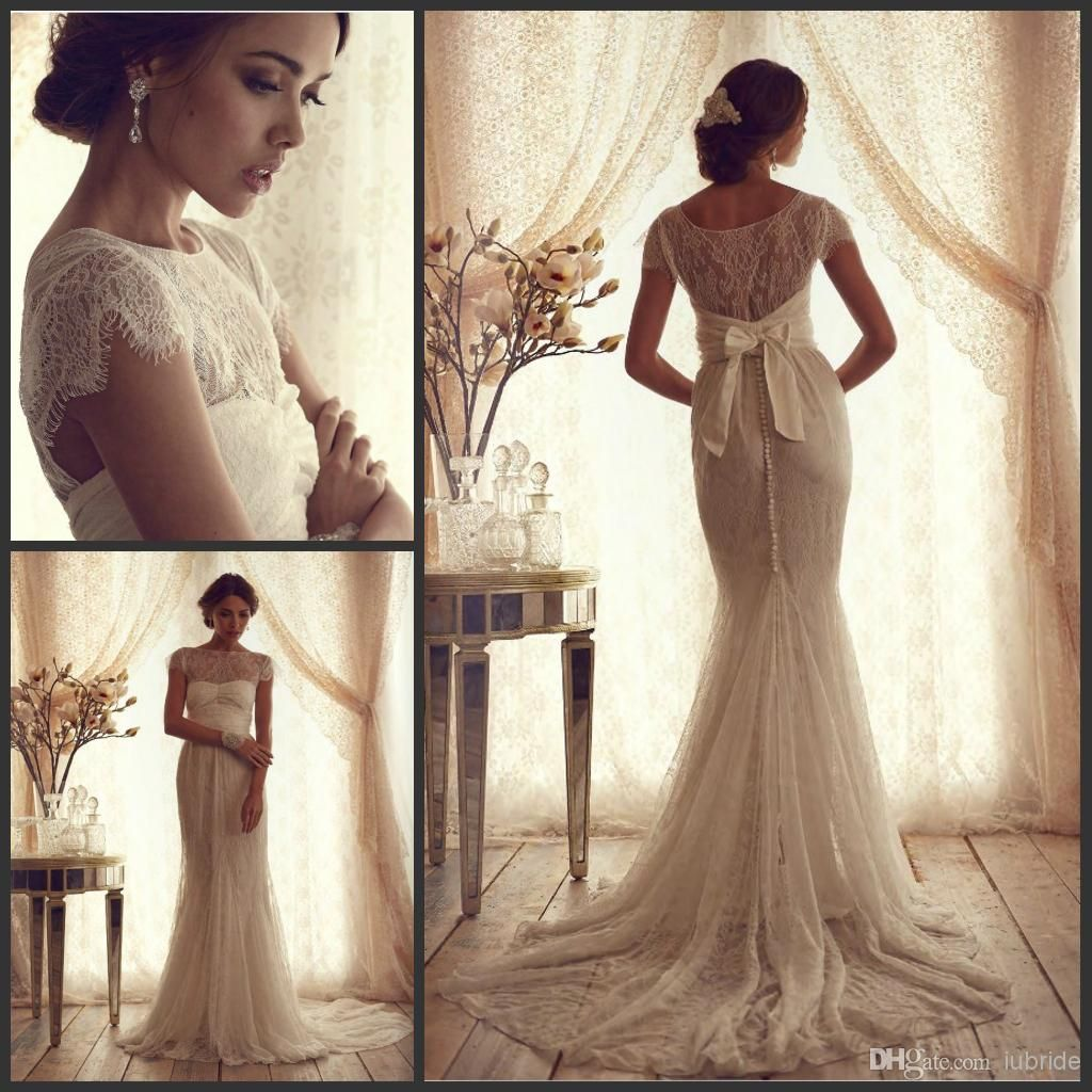 Vintage Lace Luxury Trumpet Wedding Dresses New Cheap