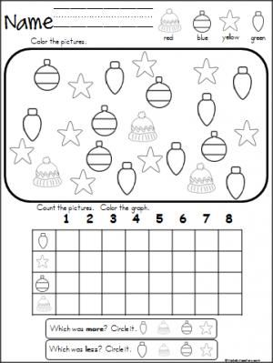 Free Christmas winter graphing activity. Great for Pre-K
