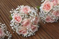 vintage pale pink roses, bridesmaid flowers, babies breath ...