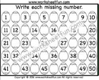 Easter Worksheets – Missing Numbers – 1 – 50