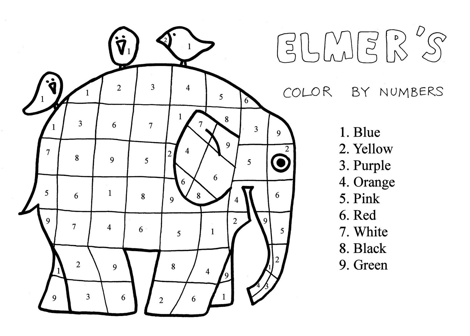 2nd Grade: Elmer the Patchwork Elephant Coloring Page