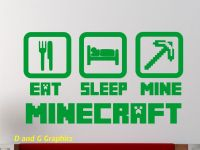 Minecraft Vinyl Wall Decal Eat Sleep Mine by DandGGraphics ...