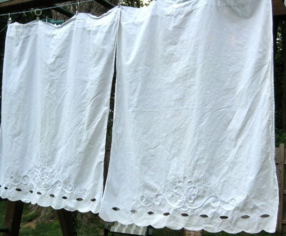 Vintage Martha White Cotton Eyelet Cafe Curtains For Jessica