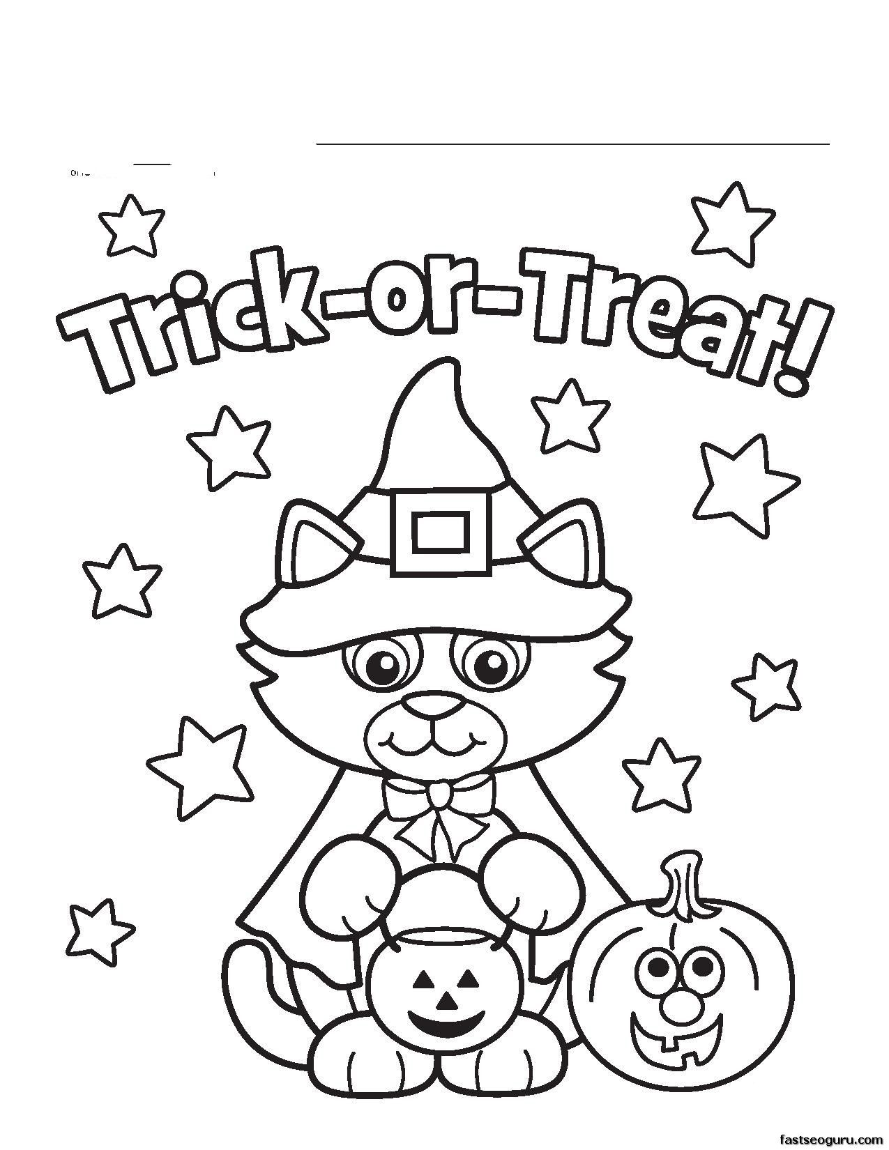 Cute Cat Witch Halloween Coloring Page