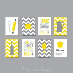 Modern Kitchen Art 8 Chair Table Prints Utensils Appliances Typography Coffee Wine Set Of 4 X 6 Or 5 7 Yellow Gray Decor Unframed
