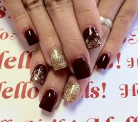 Red wine and gold nails | nail art design | Pinterest ...