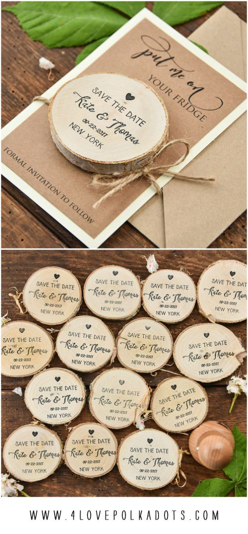 Save the Date with wooden magnet