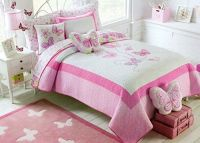 Toddler Bedding Set Butterfly 2pc Quilt Set Pink Turquoise ...