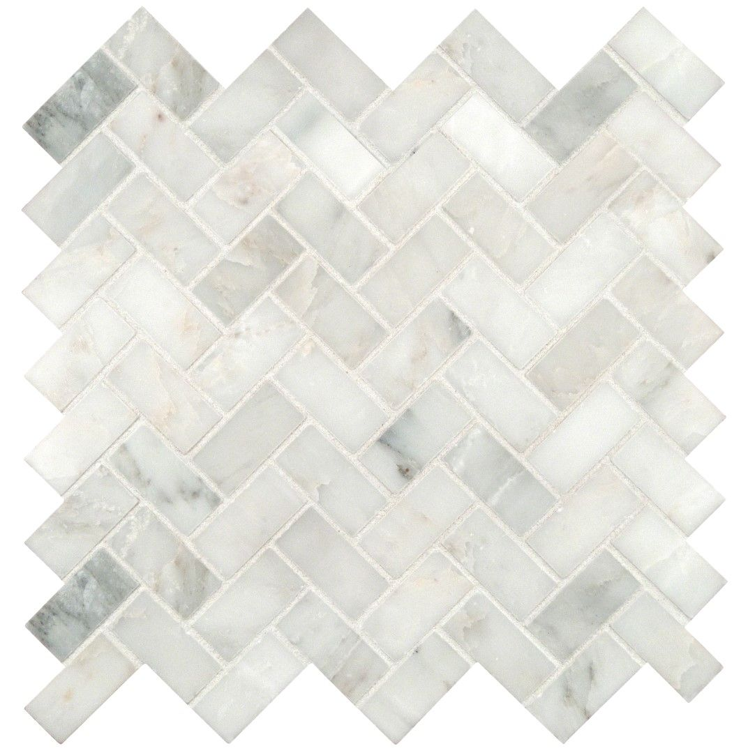 Carrara Marble Herringbone Mosaic Tile Honed 1 x 2