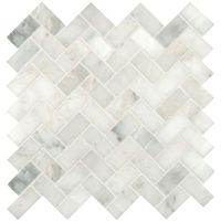Carrara Marble Herringbone Mosaic Tile Honed 1 x 2 | h [o ...