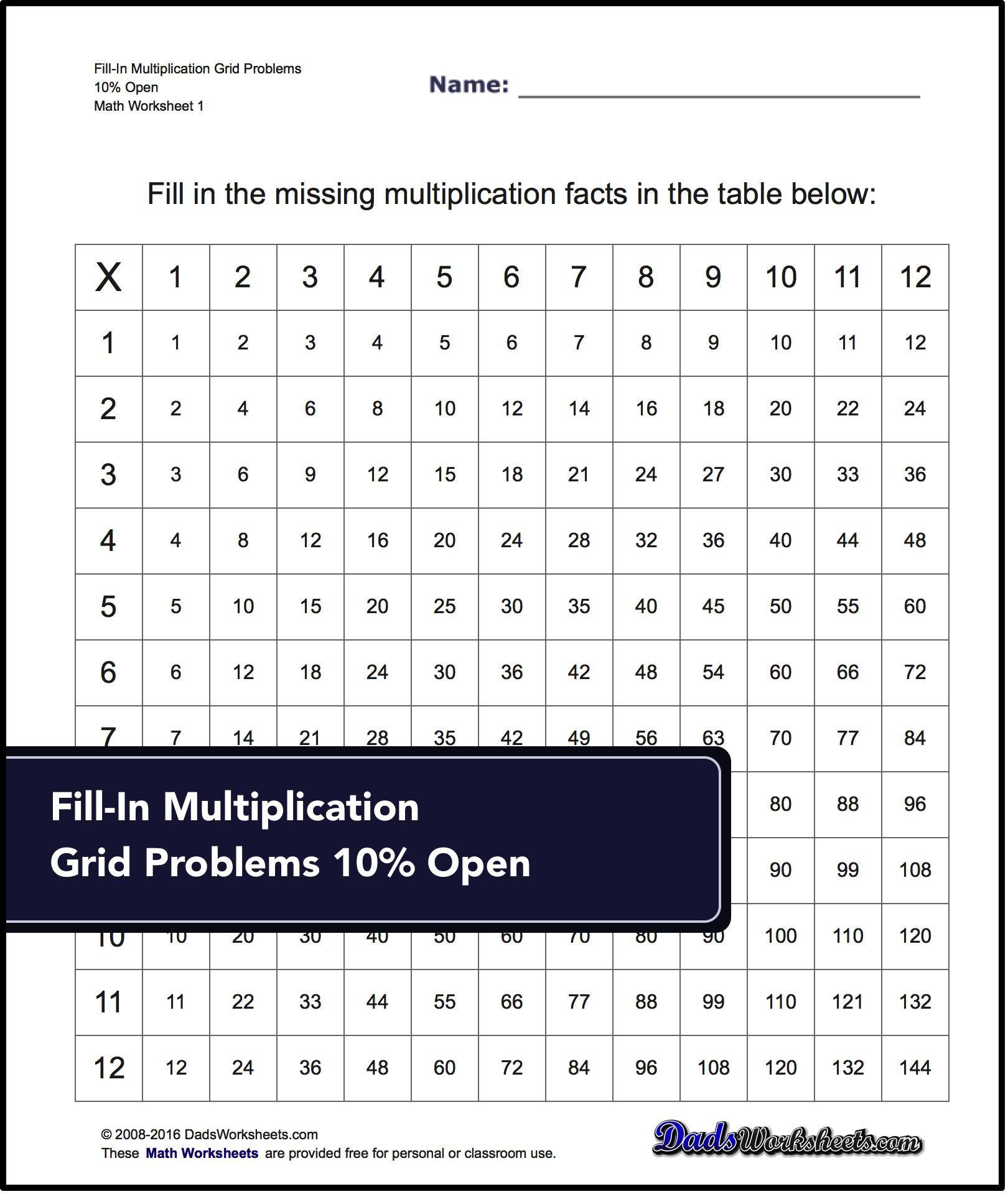 Grid Problem Multiplication Worksheets Answer Keys To
