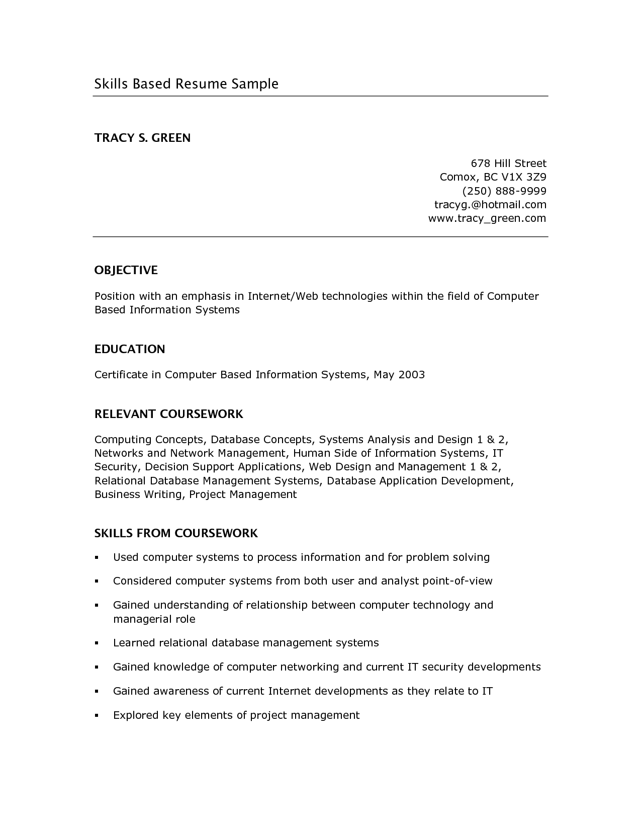 Skills Based Resume Example Google Search School