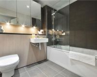 photo of contemporary beige grey white bathroom | Bathroom ...