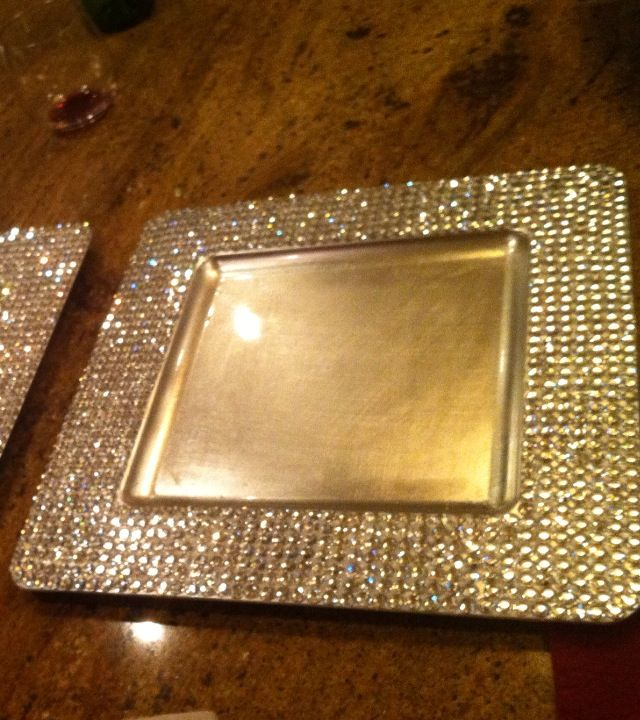 rhinestone silver charger plates reception decorations