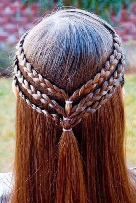 Triple Braided Half Up Hairstyle For Girls Hair Nails