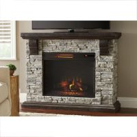 Highland 50 in. Faux Stone Mantel Electric Fireplace in