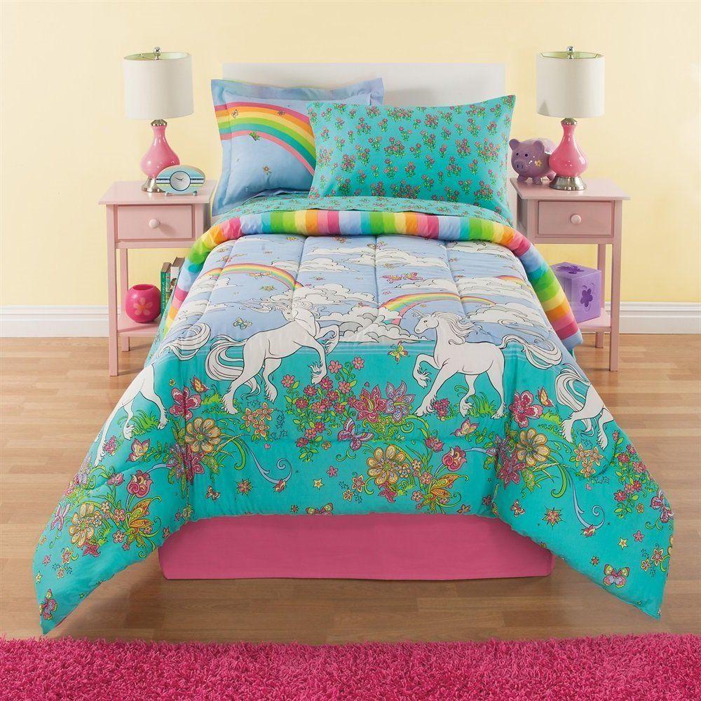 Amazon.com: 6 Piece Girls Unicorn Rainbow Comforter Set
