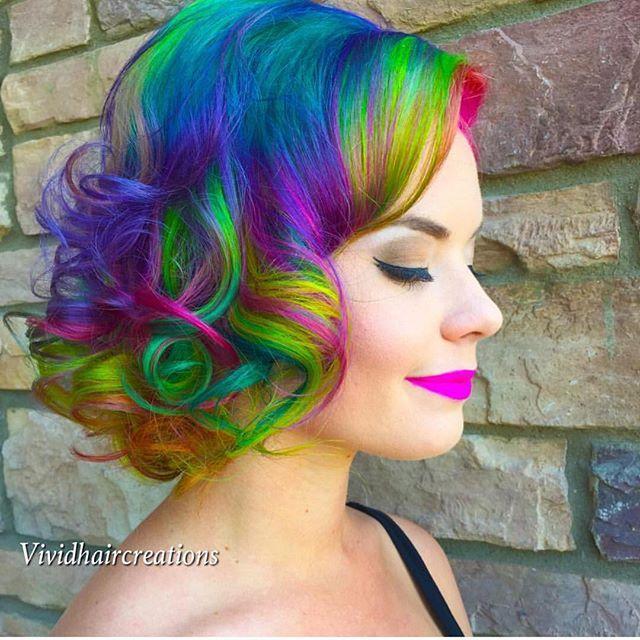 Short  mermaid  hair  rainbow hair  unicorn hair  neon hair