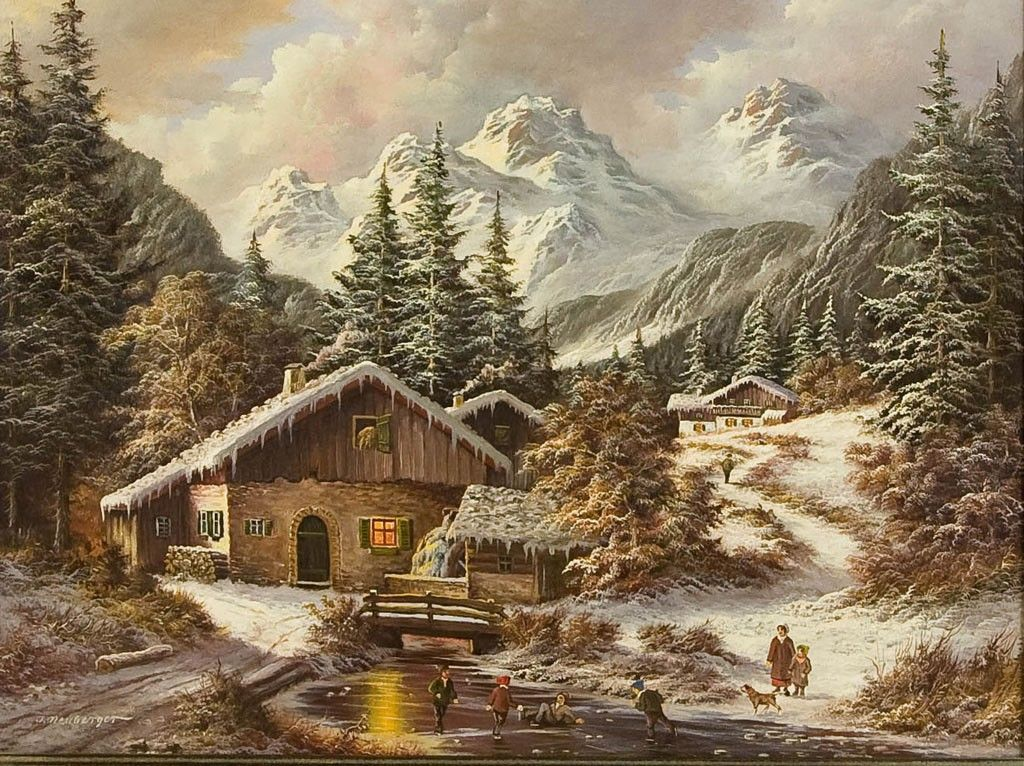Winter Landscape In The Alps With Children Skiing On A