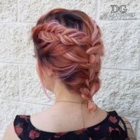 Pink hair, fishtail braid, short hair. Pink dream hair ...