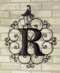 Metal monogram solar light wall art hanging decor ...