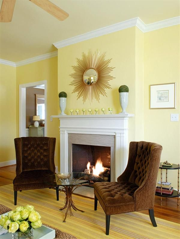 Yellow living room ideas like the and brown but  have wood trim also gracious spaces these patterned pillows in white  buttery rh pinterest