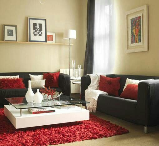 Beautiful red white and black living room also muebles de salon  sofa negro rooms rh pinterest